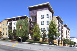 Exterior shot from street corner with balconies, trees, and people walking on sidewalk
