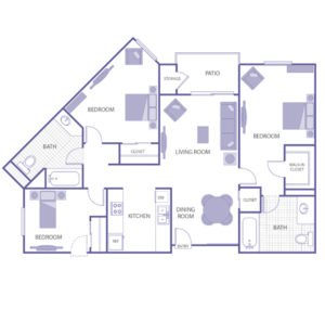 3 bed 2 bath floor plan, kitchen, dining room, living room, patio and storage, 1 walk-in closet, 3 closets
